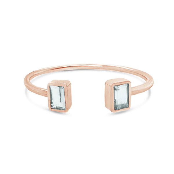 Aquamarine cuff bangle in sterling silver rose gold plated