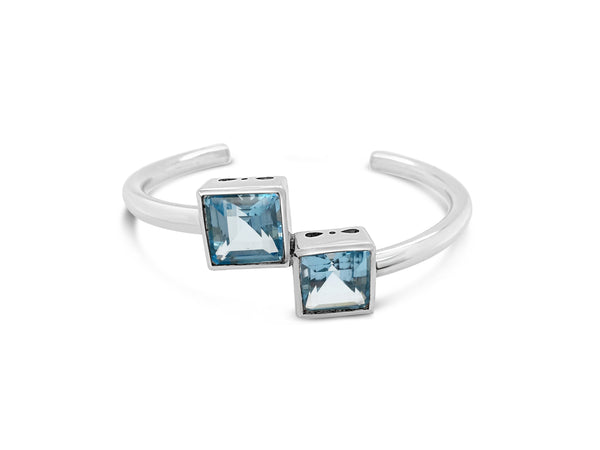 Natural Blue Topaz Cuff Bangle