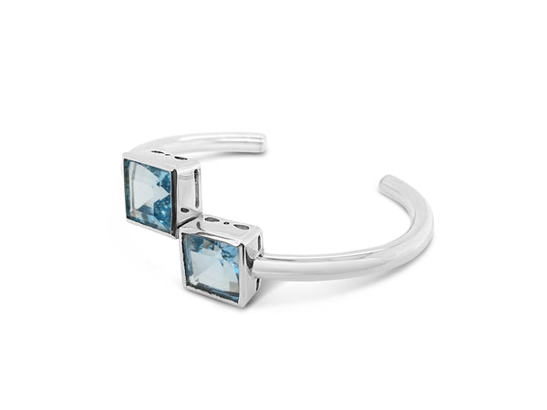 Natural Blue Topaz Cuff Bangle - Finnly's