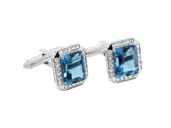 London Blue Topaz and white Sapphire Cufflinks - Finnly's