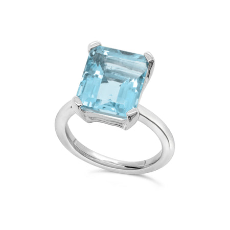 Marbella Blue Topaz emerald cut ring