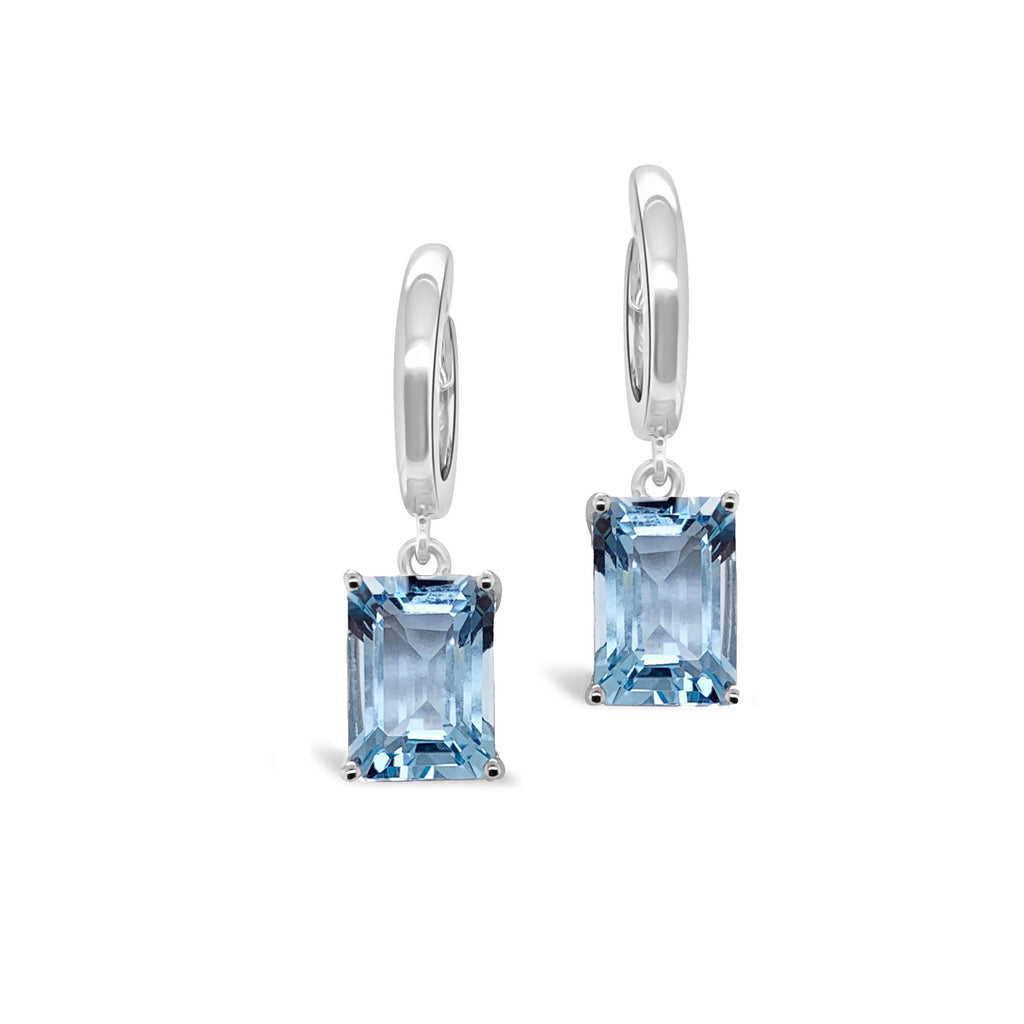 Marbella blue topaz hoops emerald cut in white gold