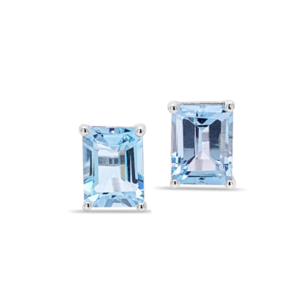 Marbella blue topaz studs in emerald cut set in white gold