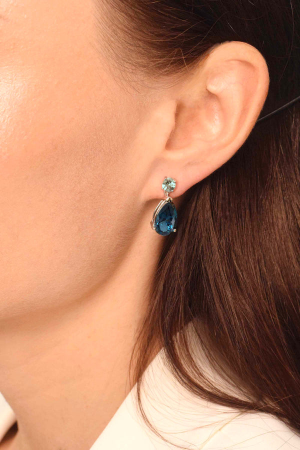 Aquamarine and London blue topaz dangle earrings - Finnly's