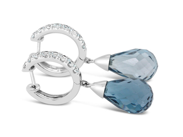 Palma London Blue Topaz and Aquamarine Briolettes set in 14k white gold