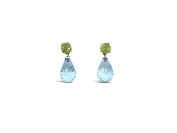 Facetted sky blue topaz and peridot dangle earrings