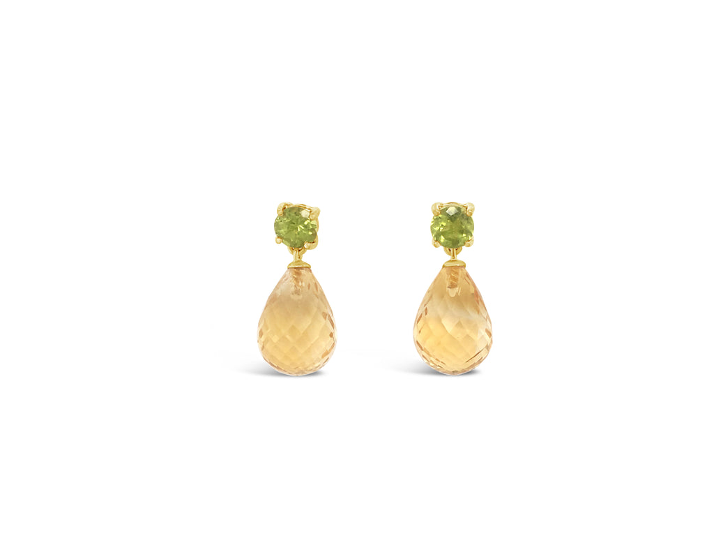 citrine drop earrings with peridot
