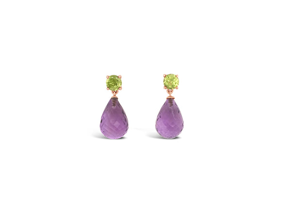Facetted purple amethyst drop earrings with peridot