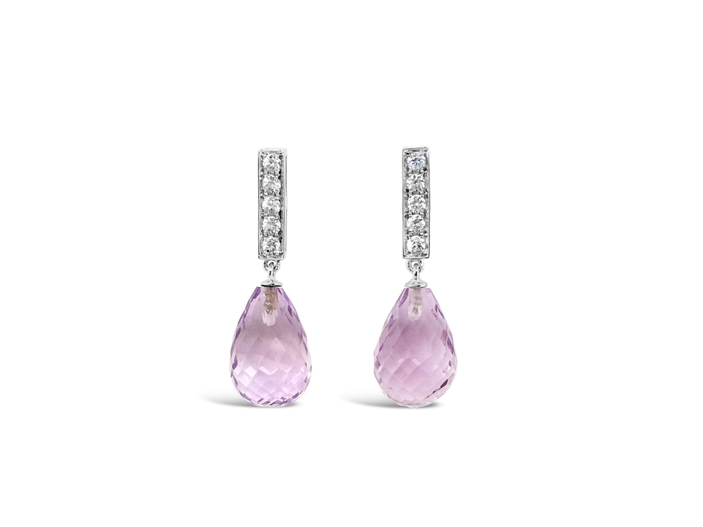 Facetted pink amethyst drop earrings with white sapphires