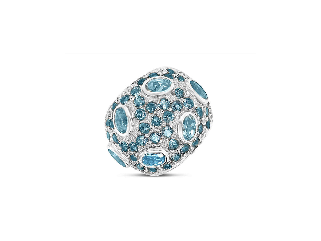 Monte Carlo Blue Topaz Pavé Statement Ring