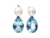 Natural Blue Topaz and Pearl Stud Earrings