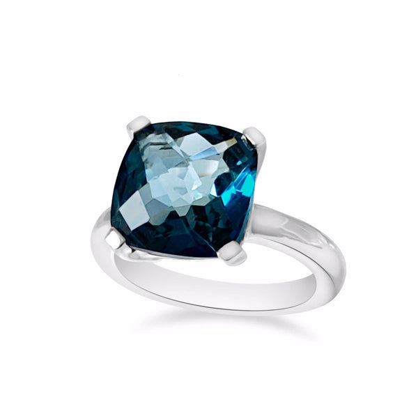 Barcelona London Blue Topaz Solitaire - Finnly's
