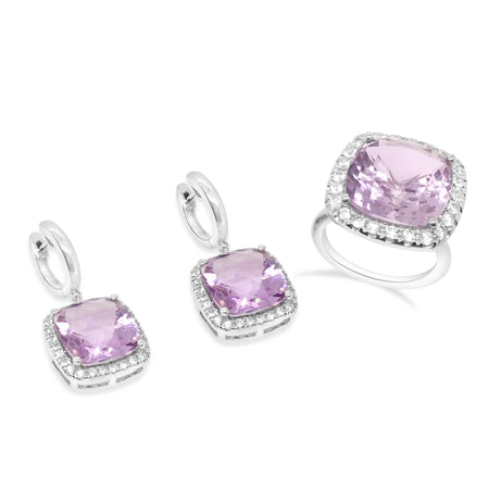 Amethyst cocktail ring and earrings, set with white sapphires
