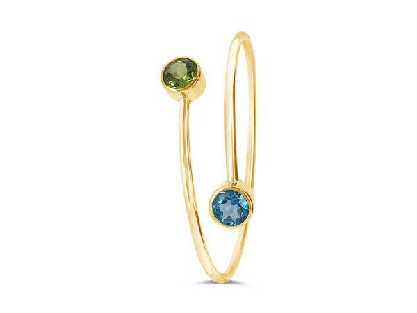 Blue Topaz and Peridot Bangle - Finnly's