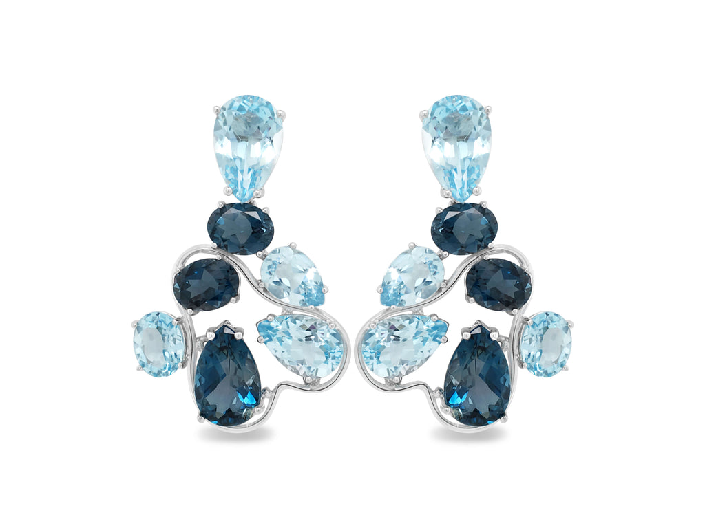 London Blue Topaz and blue topaz drop earrings