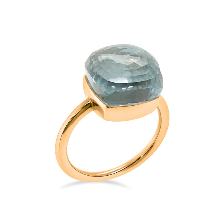 Portofino  Blue Topaz  Ring, sterling silver, rose gold plated