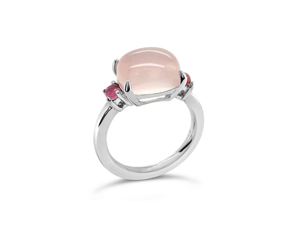 Rose Quartz cabochon ring with pink tourmaline