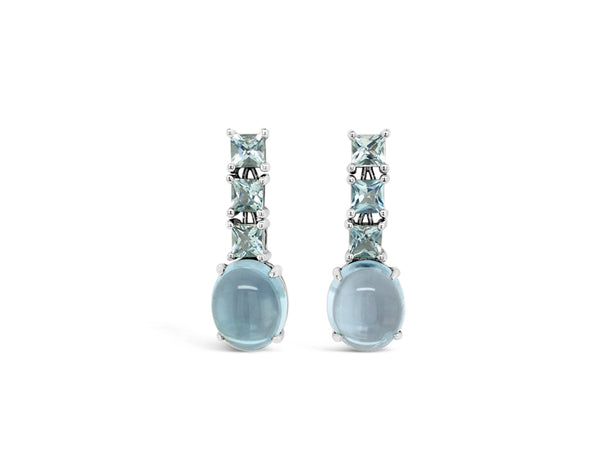 Topaz Cabochon and aquamarine drop earrings in sterling silver
