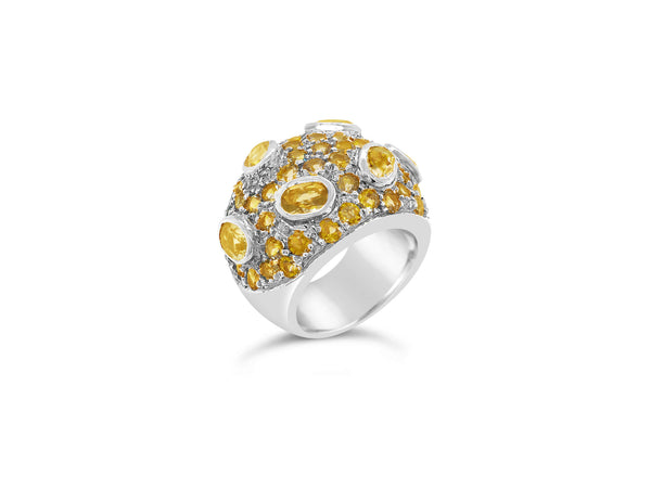 Monte Carlo Citrine Pavé Statement Ring