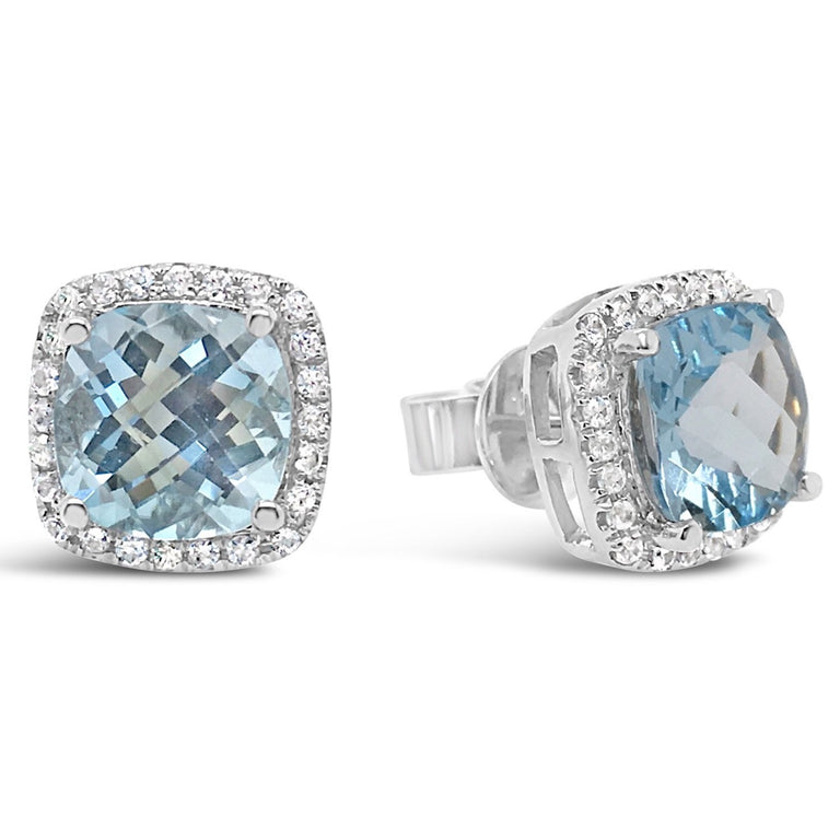Blue topaz studs in checkerboard cushion cut surrounded by halo white sapphires