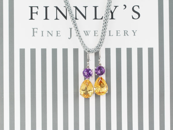 Citrine and Purple Amethyst  Dangle Earrings - Finnly's