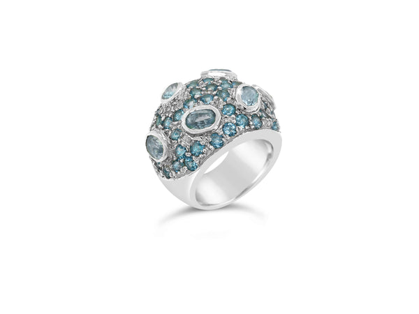Blue topaz pave statement ring