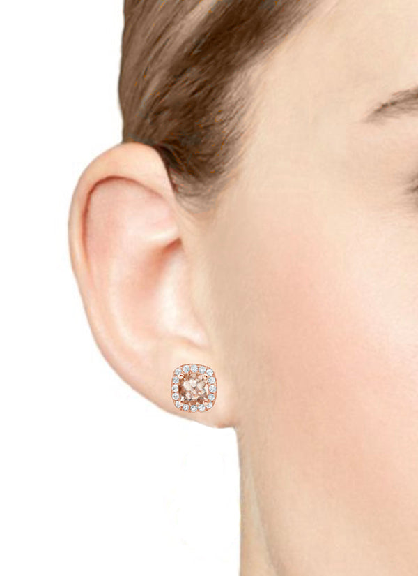 Barcelona Morganite and White Sapphires Studs Earrings - Finnly's