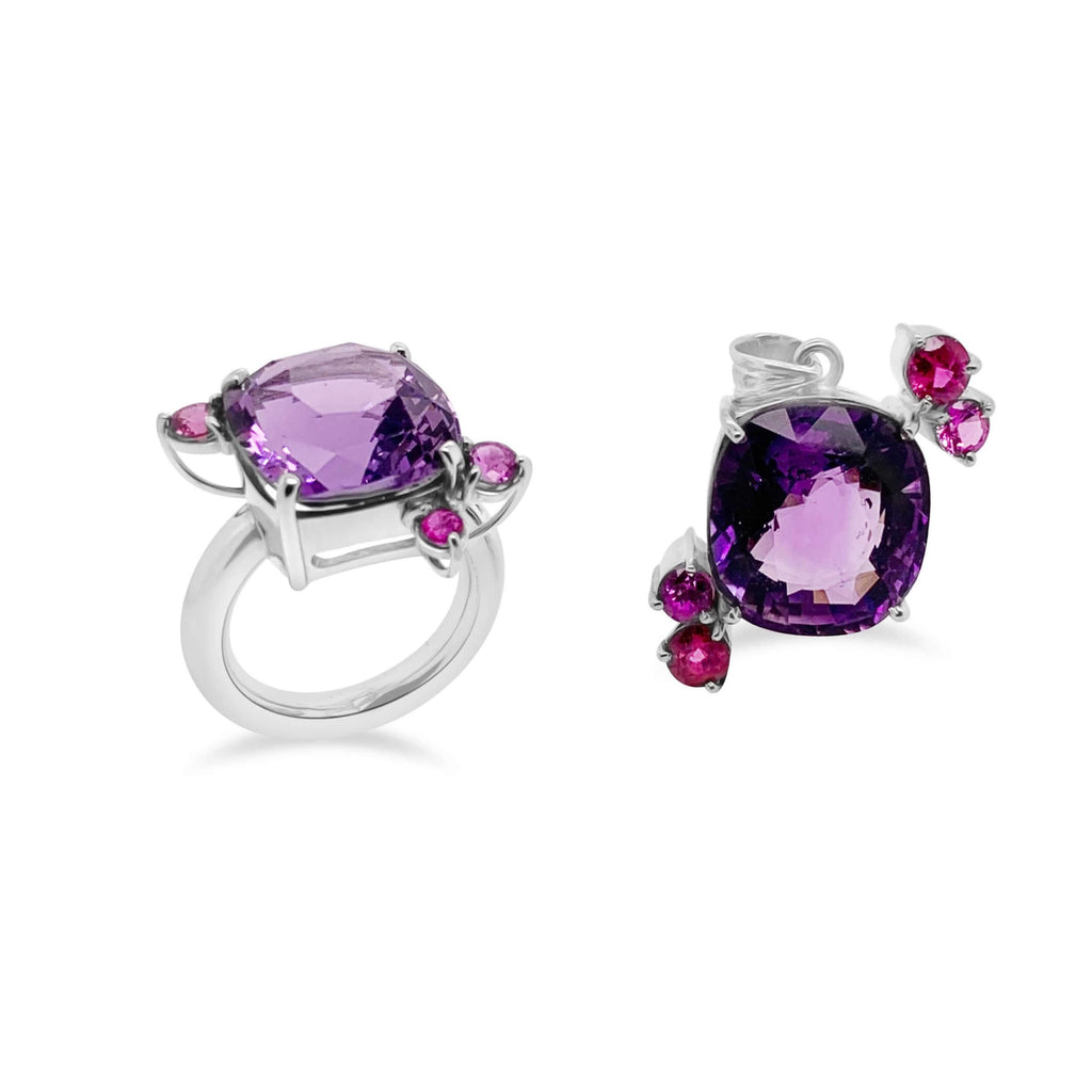 Purple Amethyst and Pink Sapphire Ring and Pendant - Finnly's