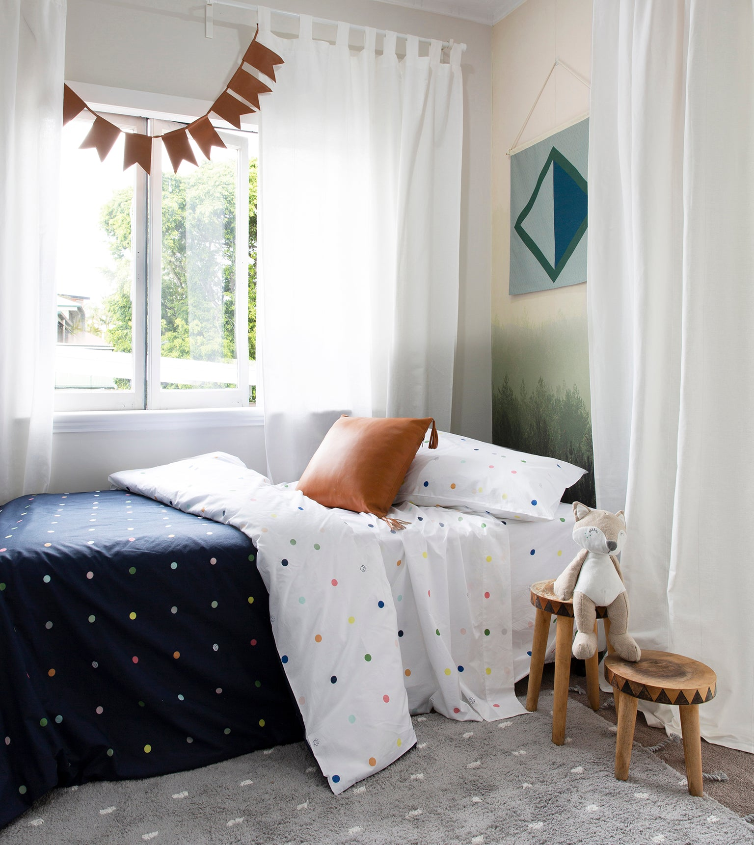Diagonal fabric wall flag