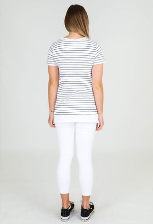 Load image into Gallery viewer, Brighton short sleeve tee navy stripe 3rd story