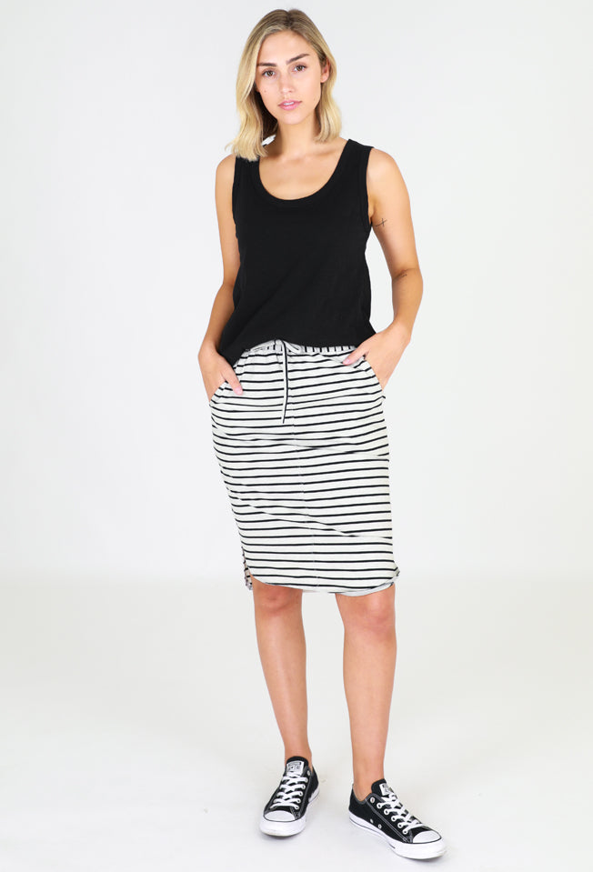 Cotton Curved Hem Skirt – grey stripe