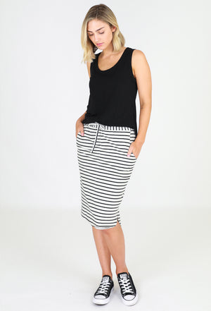 Load image into Gallery viewer, Cotton Curved Hem Skirt – grey stripe