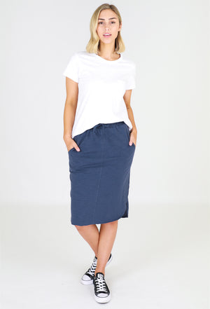 Load image into Gallery viewer, Cotton Curved Hem Skirt – Indigo