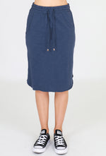 Cotton Curved Hem Skirt – Indigo