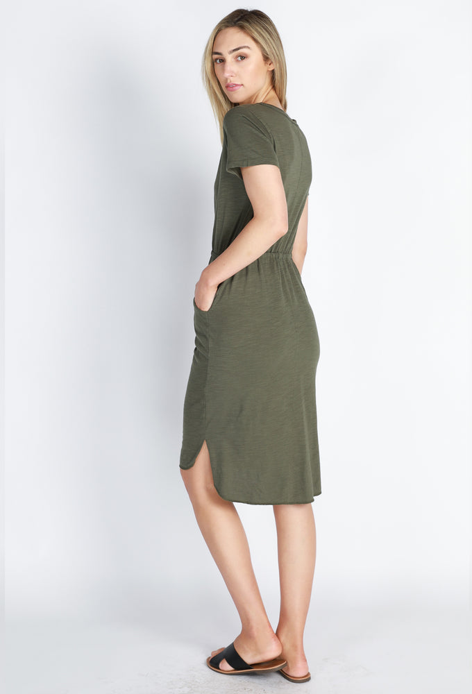 Load image into Gallery viewer, Drawstring Dress - Khaki