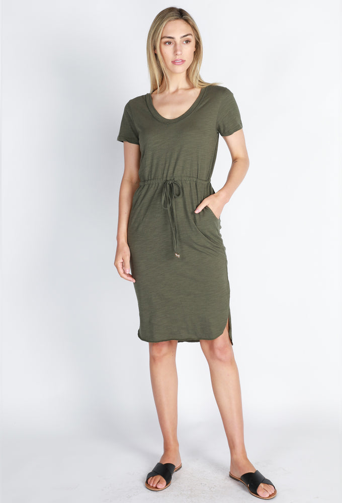 Drawstring Dress - Khaki