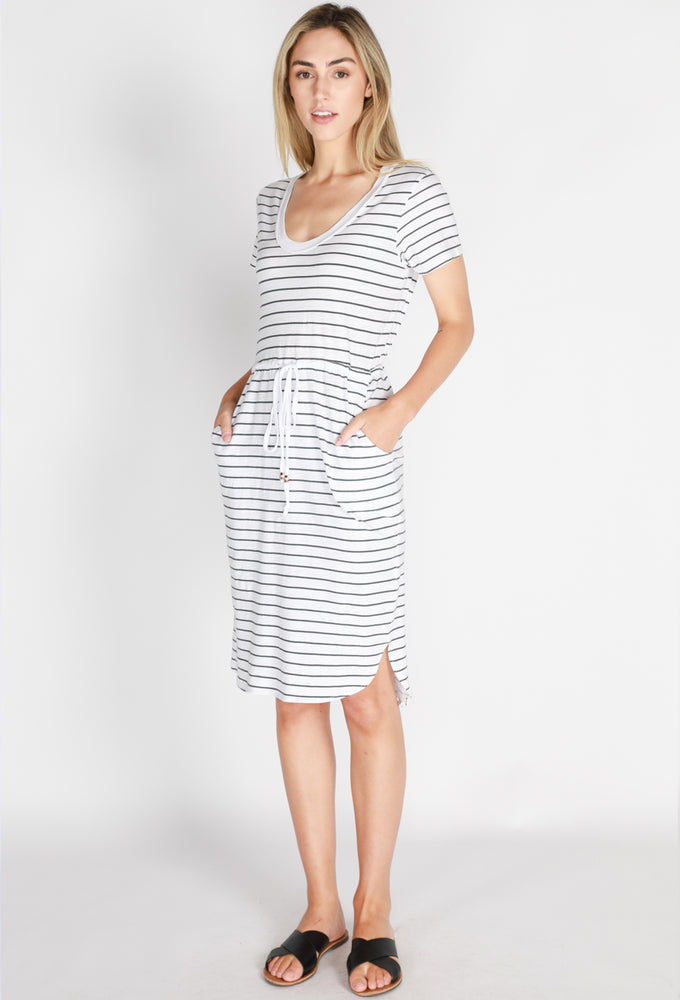 drawstring dress navy stripe
