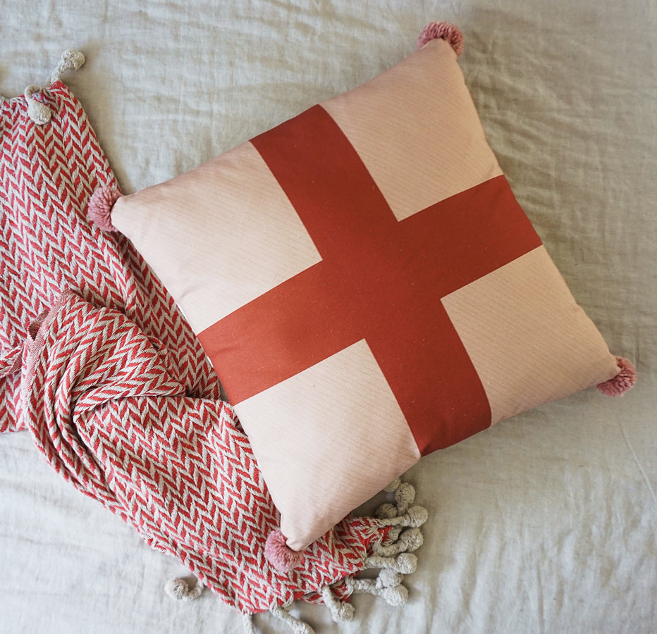 Cross Cushion Covers - Blush + Rust Red