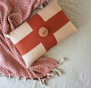 Cross Cushion Cover Blush Rust Red Pom Pom