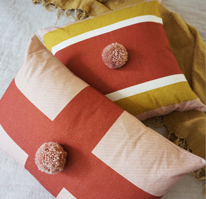 Load image into Gallery viewer, Cross Cushion Cover Blush Rust Red Pom Pom