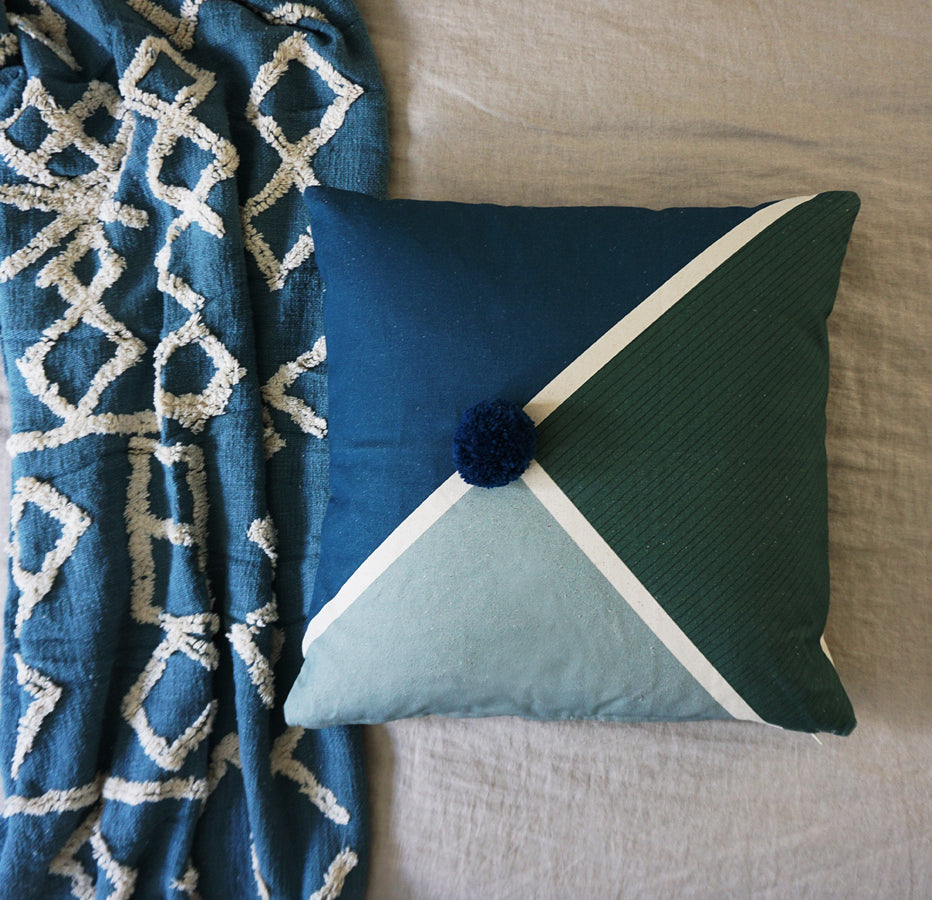 Diagonal Cushion Cover Blue  Sage  Emerald Pom Pom