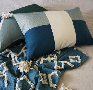 Load image into Gallery viewer, Stripe Cushion Cover Blue Sage Tassels