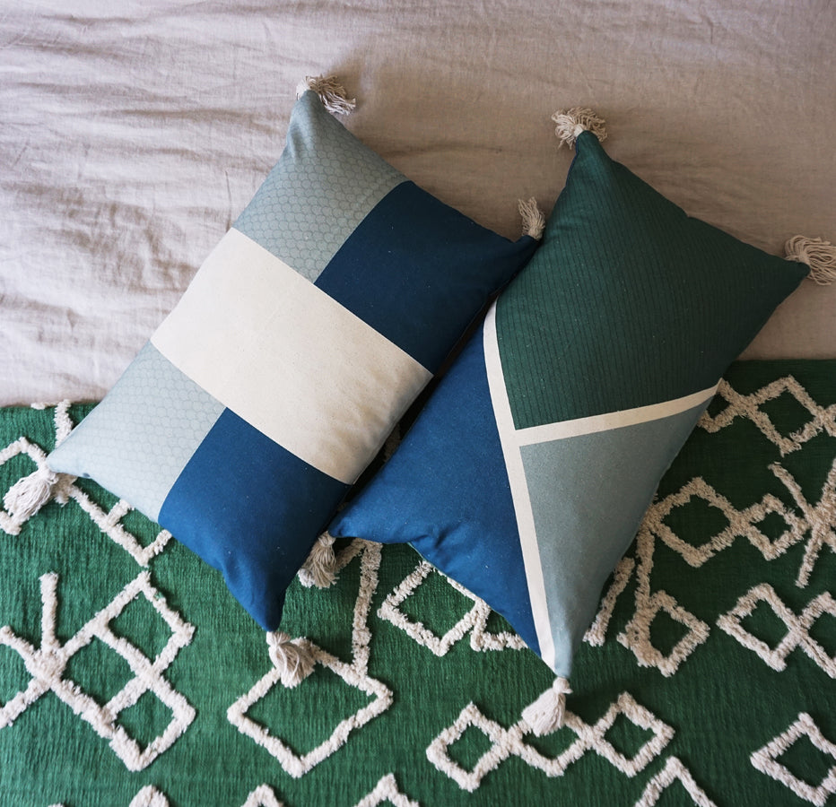 Diagonal Cushion Cover Blue  Sage  Emerald Tassels