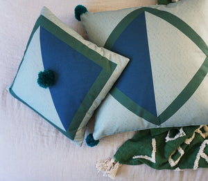 Diamond Cushion Covers - Blue + Sage + Emerald