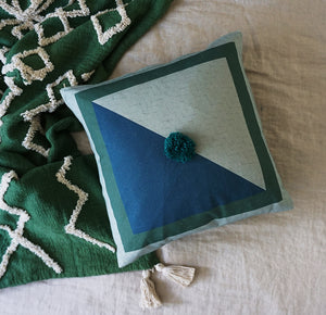 Diamond Cushion Cover Blue  Sage  Emerald Pom Pom