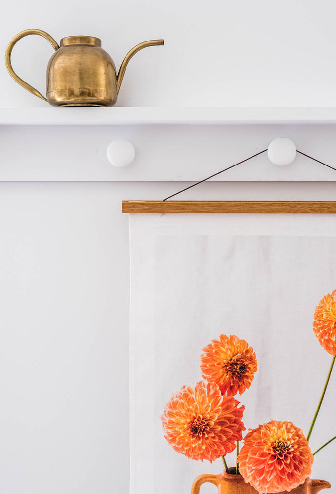 Load image into Gallery viewer, dahlias art tea towel + hanger set