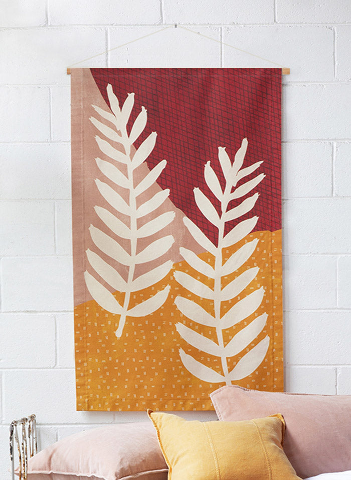 Fern Fabric Wall Hanging dowel closeup
