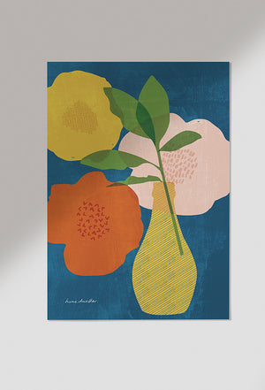 Load image into Gallery viewer, navy bloom art print