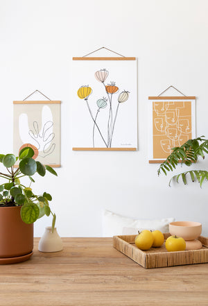 Load image into Gallery viewer, Set A3 art print + 30cm magnetic wooden print hanger