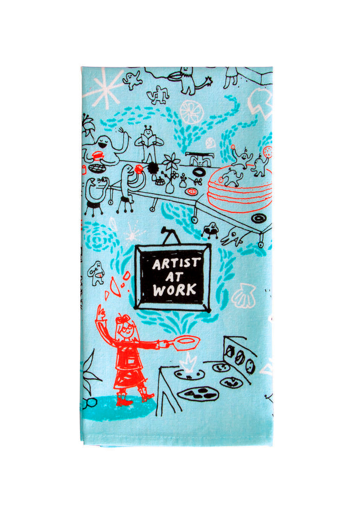 Load image into Gallery viewer, artist at work tea towel blue q